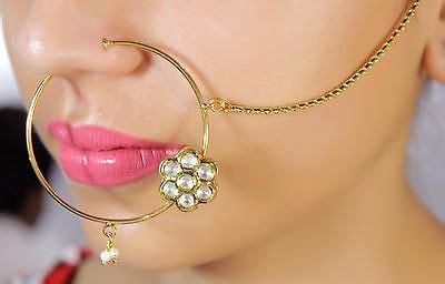 traditional gold tone bollywood bridal nose ring nath set