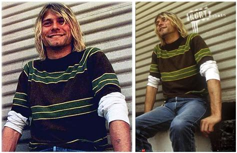 Sweater Lock Live Leo Cloth kurt cobain green sweater gray cardigan sweater
