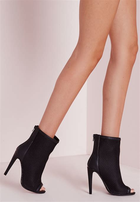 miss shoes missguided mid calf mesh peep toe ankle boots in black lyst
