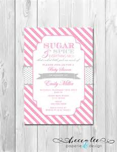 sugar and spice baby shower invitation stripes by