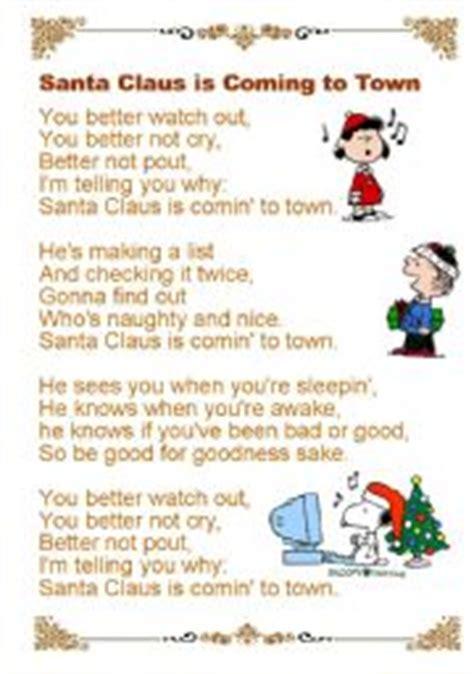 printable lyrics to santa claus is coming to town english worksheet santa claus is coming to town