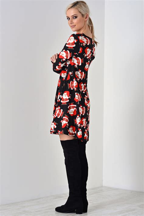 in style april santa christmas dress in black iclothing