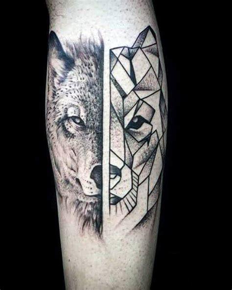 wolf tattoo half geometric 90 geometric wolf tattoo designs for men manly ink ideas