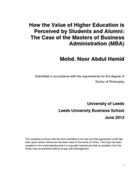 Is Mba Higher Than Phd by How The Value Of Higher Education Is Perceived By Students