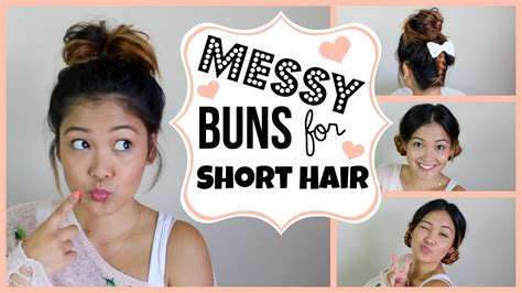 messy buns  short hair youtube