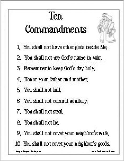 Printable Version Of Catholic Ten Commandments | free coloring pages of list of ten commandments