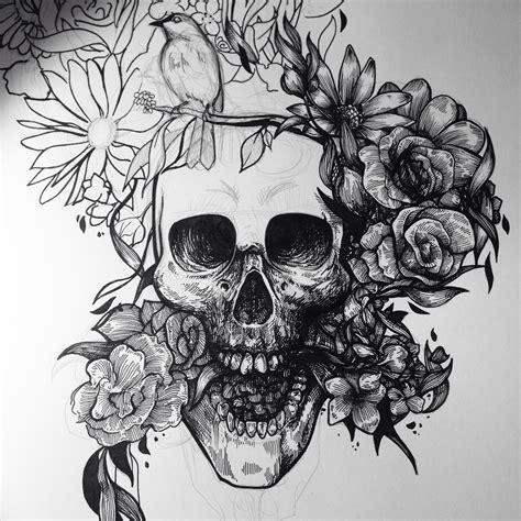 Skull And Flower skull flower arte caveira