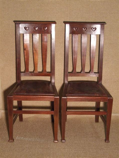 Arts And Crafts Dining Chairs Arts And Crafts High Backed Pair Of Dining Chairs Antiques Atlas