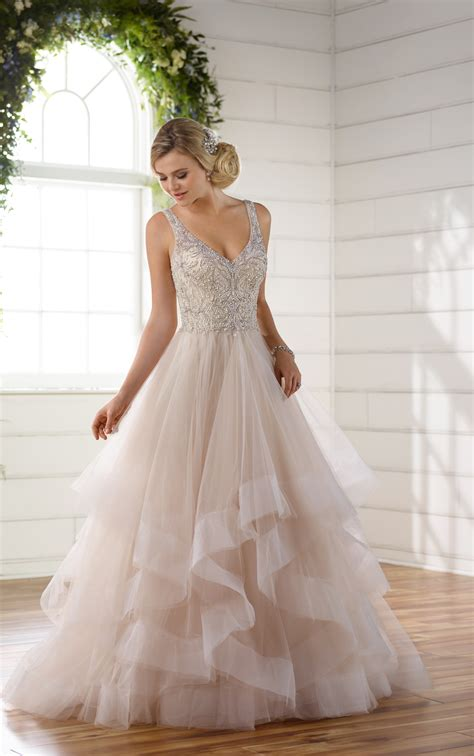 beaded strap wedding dress  full textured skirt