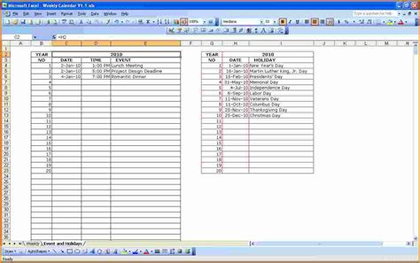 daily planner template in excel 8 weekly planner template excel authorization letter