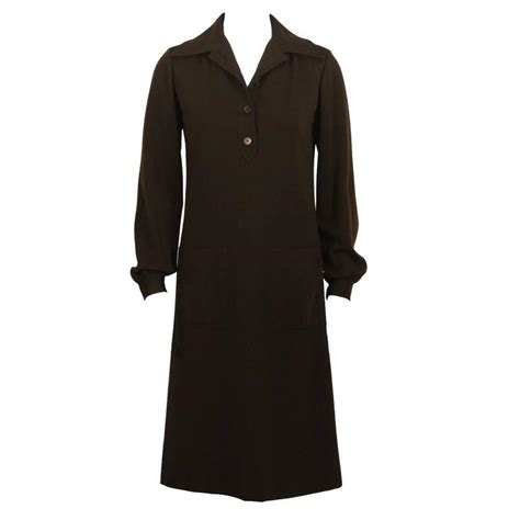 Laurent Day View 1970 s yves laurent ysl brown wool day dress for