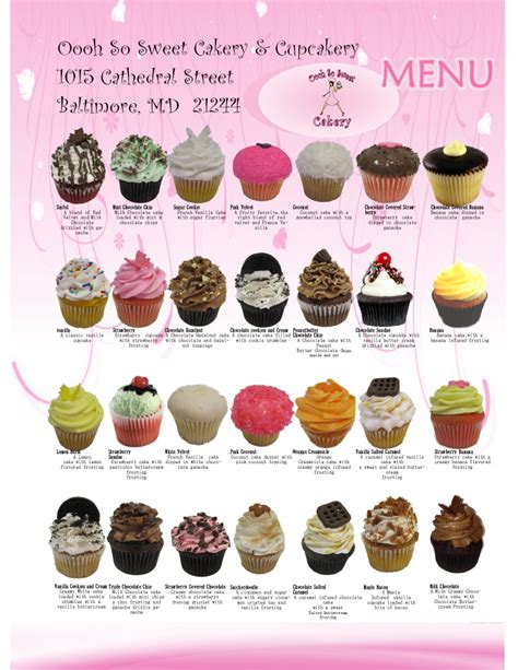 oooh so sweet cupcake custom cake and cakepop flavor optionsdelivery and shipping are