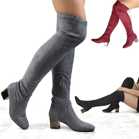low heel thigh high boots new womens the knee block low heel stretch leg