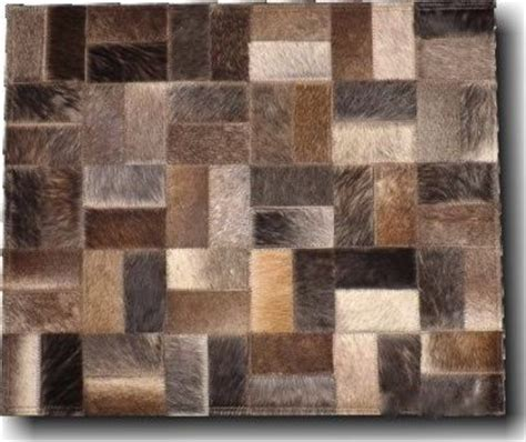 patchwork leather rug cow hide square mosaic leather