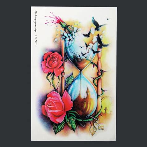 hourglass rose waterproof body art arm temporary tattoo
