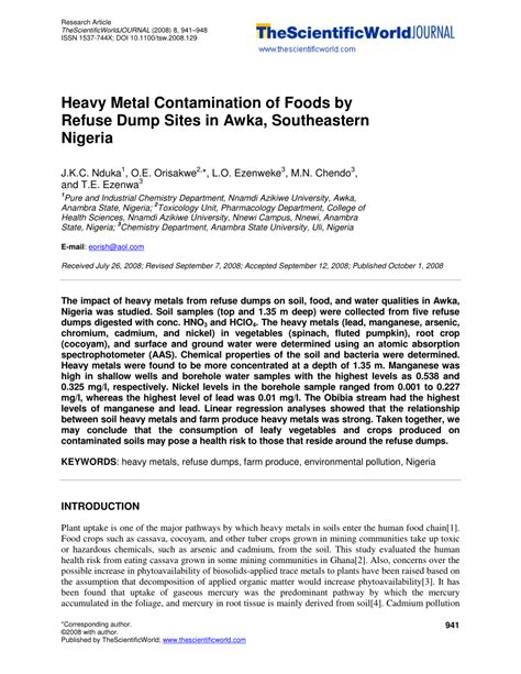 (PDF) Heavy Metal Contamination of Foods by Refuse Dump