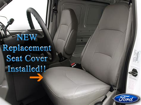 2002 2008 ford e series econoline van perforated vinyl seat cover driver bottom gray