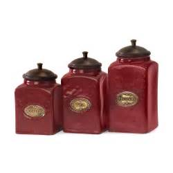 Canister Sets Kitchen by Imax Worldwide 5268 3 Red Ceramic Canisters Set Of 3