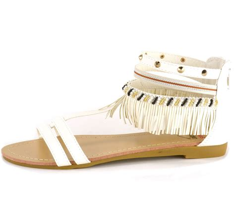 beaded ankle sandals alpine swiss womens fringe sandals beaded studded