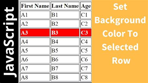 change selected html table row background color