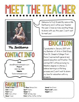 meet the teacher newsletter template by chalk and gumption