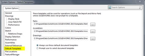 Solidworks Default Template Location Settings Default Template