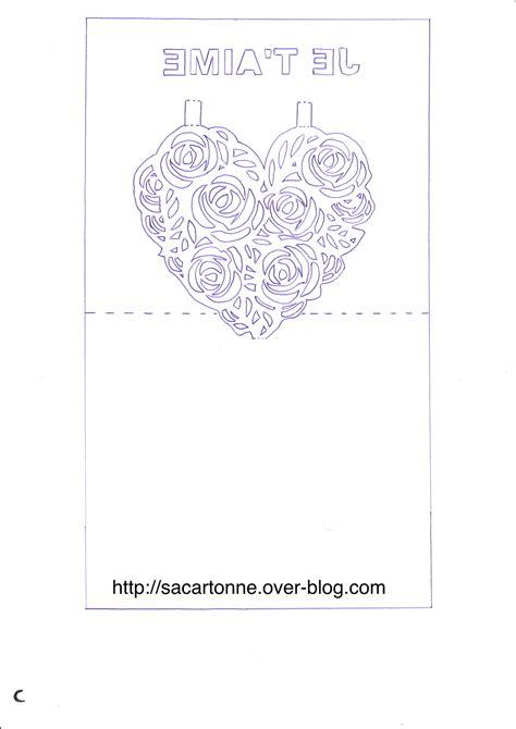 Modele Kirigami kirigami gratuit coeur de roses sacartonne