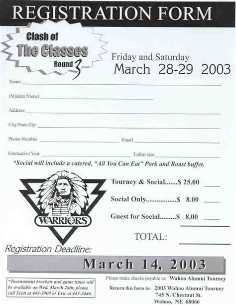 Wahoo Public Schools Alumni Basketball Tournament Basketball Tournament Registration Form Template