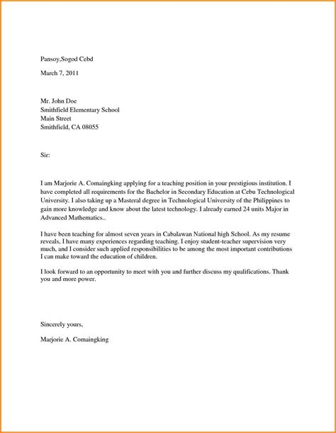 application letter for elementary in the philippines sle application letter for elementary teachers in the