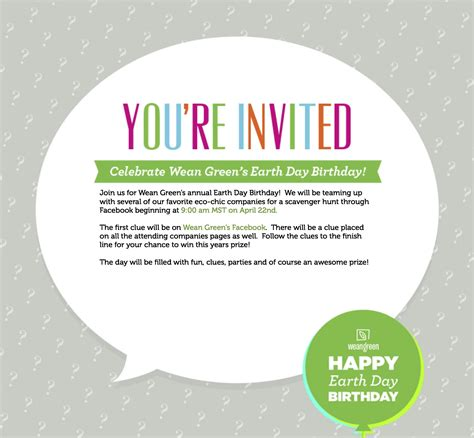 Invitation Giveaway - earth day birthday contest we love glass