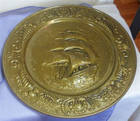 Decorative Platters by 3 Pc Vintage Embossed Brass Nautical Sailing Maritime