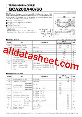 Qca 200a 60 Power Transistor Module Sanrex qca200a60 데이터시트 pdf sanrex corporation