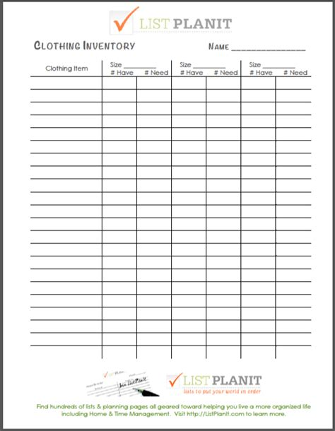 clothing inventory list template organizing inventorying children s clothing free