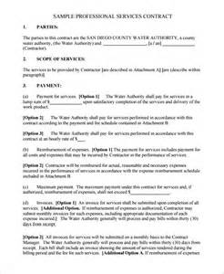 Professional Contract Template by Service Contract Template 8 Free Word Pdf Documents