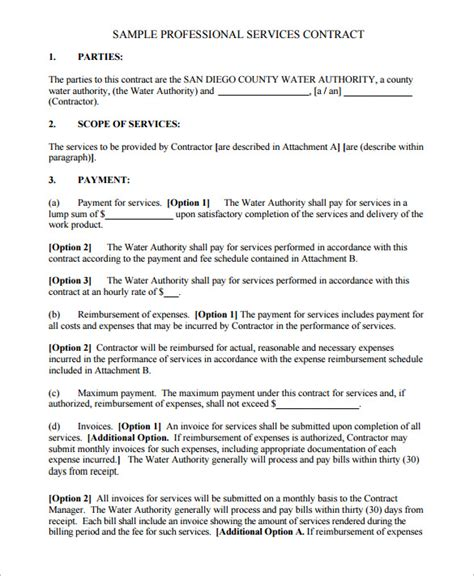 Contract Agreement Template For Services service contract templates 11 free word pdf documents