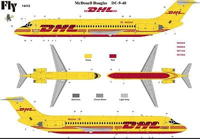 commercial plastic model airplanes 1 144 dc9 40 dhl commercial airliner fym14412 fly models