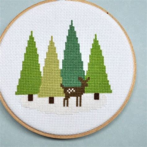 cross stitch cross stitch pattern deer in the forest cross stitch