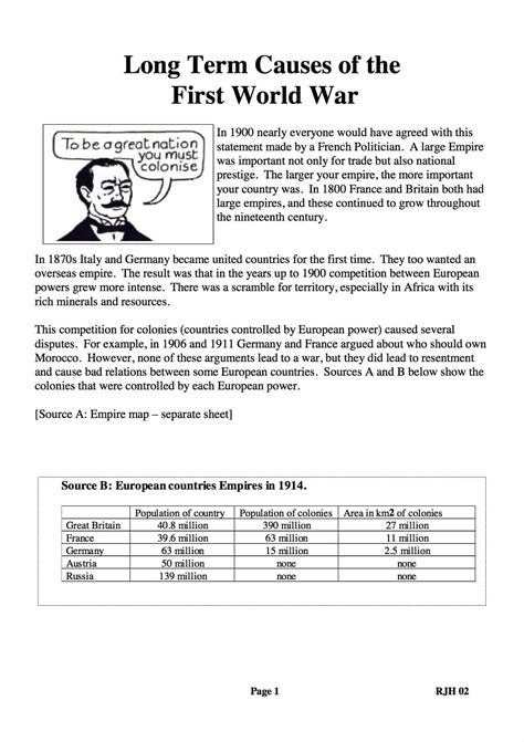 World Learners Activity Workbook 1 causes of world war 1 worksheet resultinfos