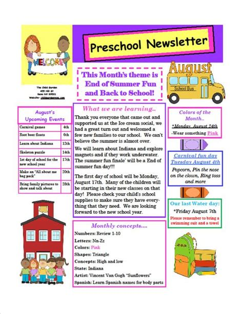 Preschool Newsletter Sles Beneficialholdings Info Monthly Preschool Newsletter Template