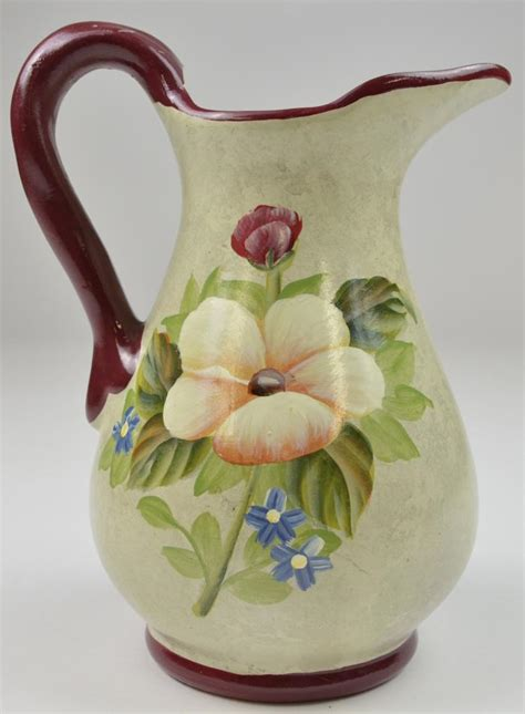 Pottery Pitchers Handmade - handmade pottery floral pattern pitcher 9 75 quot