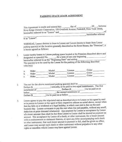 sle parking lease template 9 free documents download