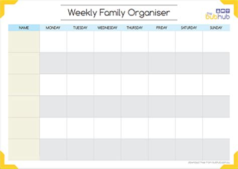 printable monthly family planner weekly family organiser printable bub hub