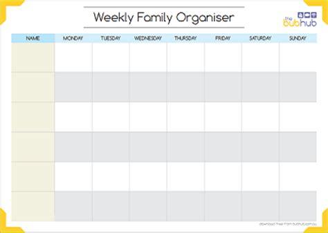 weekly family organiser | printable | bub hub