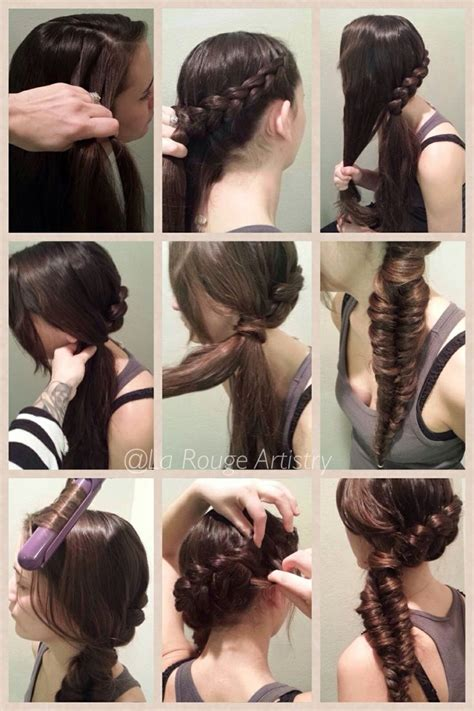 underhand braids french braid fishtail side ponytail 1 begin 3 strand