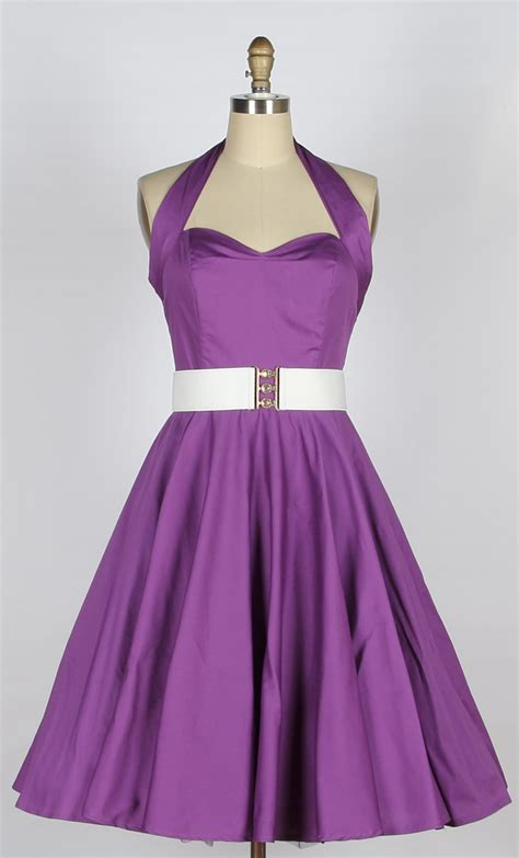 purple swing dress 40s 50s halterneck cotton swing dress purple 81221 163 34