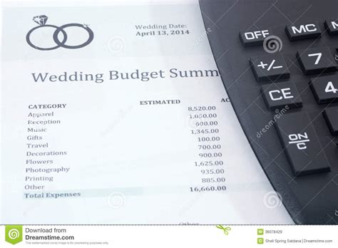 Wedding Budget Estimator by Wedding Budget With Calculator Royalty Free Stock Images
