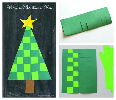christmas crafts  kids woven paper christmas tree