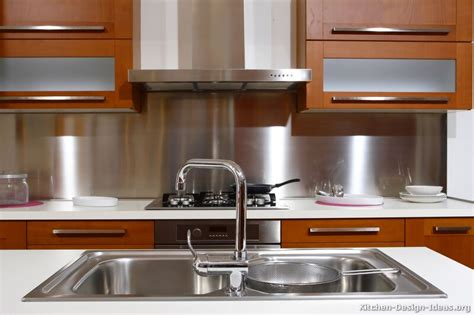 Kitchen With Stainless Steel Backsplash Kitchen Backsplash Ideas Materials Designs And Pictures