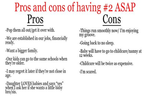 Gap Year Pros And Cons Essay by Pros And Cons To Another Baby 9 Months From Now Cherish365