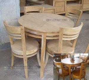 Meja Makan Bulat Kayu Jati set meja kursi makan bulat minimalis telur kayu jati
